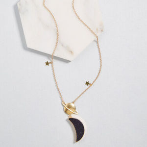 Moon Right Along Pendant Necklace